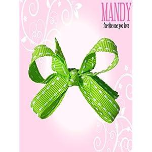 マンディ ベビー ヘアクリップ Petit Bows Apple Green