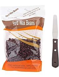 ハードワックス脱毛セット ハードワックス300g、ステンレススチールスパチュラ19cm (チョコレート)