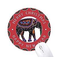 カラフルな象中国少数民族のドレッシングのトーテム 円形滑りゴムのクリスマスマウスパッド