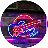 Rock & Roll Electric Guitar Band Room Music Dual Color LED Neon Sign Blue & Red 300 x 210mm st6s32-i2303-br