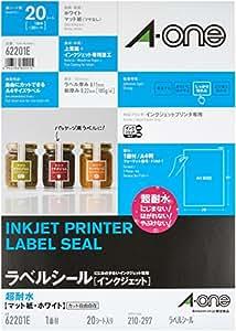 エーワン ラベルシール インクジェット 超耐水 マット紙 1面 20枚 62201