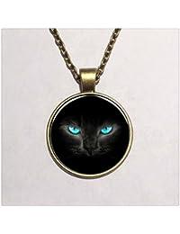 青い目の黒猫のガラスのネックレスチャームアート画像はラウンドジュエリーネックレス
