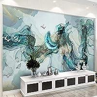 Wuyyii 写真の壁紙現代抽象インク風景月壁画リビングルーム研究中国風ステッカー自己接着防水装飾-350X250Cm