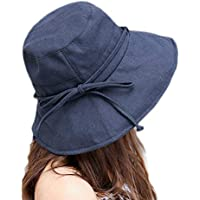 Spaufu Stylish Fisherman Hat Sun Visor Hat with Bow for Woman Girl Boonie Hat Sunscreen Shade Summer Outdoor Leisure Activities Cotton and Linen Multicolor 1pack