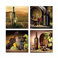Sykdybz コンチネンタルアンティークガラスのアマゾンアンティークのワイングラスホームキッチンのレストランでは装飾が施されているキャンバスの絵画、 30 x 30 cmx 4 pc