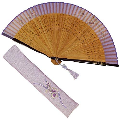 扇子 女性 扇子袋・ハンカチセット蘭脇ペンテ(ピンク) 桐箱入り おしゃれ シルク 女性用 レディース 扇子