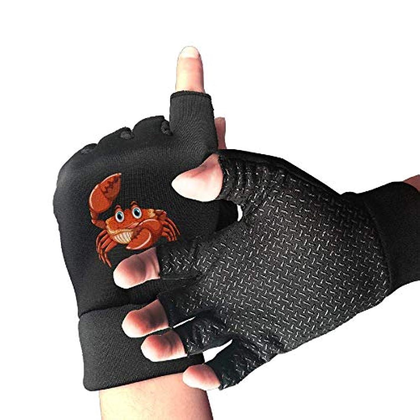 タービンその結果知るサイクリング手袋漫画カニ男性/女性のマウンテンバイクの手袋ハーフフィンガースリップ防止オートバイの手袋