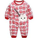 エルフ ベビー(Fairy Baby)新生児服 カバーオールロンパース 前開き 長袖 四季兼用 可愛い猫柄 レッド 70cm