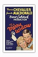 The Merry Widow - 主演 Maurice Chevalier, Jeanette MacDonald - Ernst Lubitsch監督 - ビンテージなフィルム映画のポスター c.1934 - プレミアム290gsmジークレーアートプリント - 61cm x 91cm