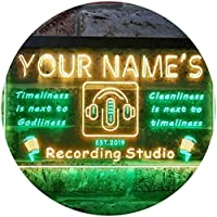 Personalized Your Name Est Year Theme Recording Studio On Air Dual Color LED看板 ネオンプレート サイン 標識 緑色 + 黄色 600 x 400mm st6s64-qm1-tm-gy