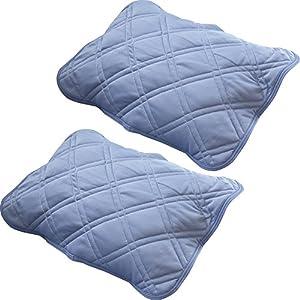 枕パッド 2枚組 接触冷感 Qmax0.38 抗菌防臭 吸放湿 洗える リバーシブル ネイビー