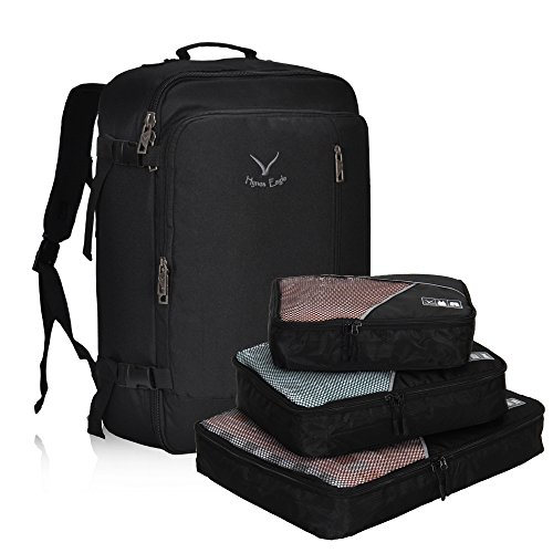 Hynes Eagle Men Backpack 38L Flight Approved Weekender Carry on Backpack Travel Backpack with 3pcs Packing Cubes Black
