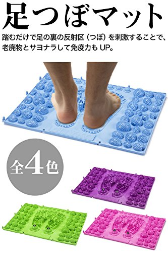 足型 簡単 踏むだけ 足ツボ 健康 マット ジョイント 式 反射区 マップ セット (ブルー 1枚)