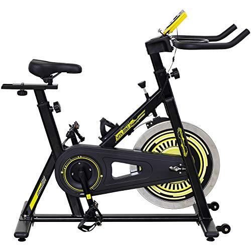 ALINCO(アルインコ) フィットネスバイク スピンバイク 本格的なホイール13kg 負荷調節可 静音設計 幅広ハンドル 移動キャスター付き イエロー BK1518Y