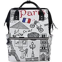 ママバッグ マザーズバッグ リュックサック ハンドバッグ 旅行用 パリのイラスト ファション