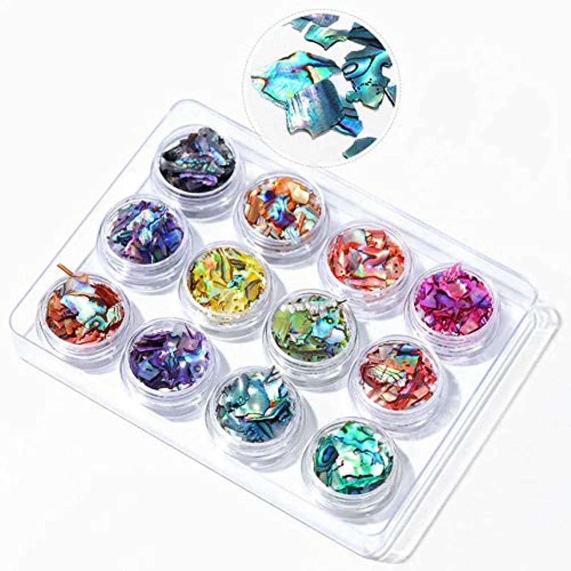 Murakush 12個ネイル装飾品シェルピース色とりどりのアワビピースミラージュピース BKT01