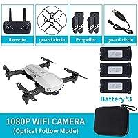 折り畳み式の2.4GHz帯無線LAN FPVドローン1080PカメラRCドローン航空機玩具/ 3バッテリーのw