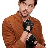 【GSG】ドライビンググローブ 半指 指ぬきグローブ メンズ 指切り手袋 ドライブ 手袋 革 レザーグローブ ドライバー バイク フィンガーレス 車 運転 肉厚パッド 男性用 プレゼント 161078