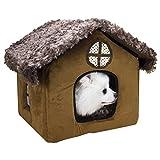 Yihiro ペットハウス 室内用 小型犬 猫 家 あったか 冬 Mサイズ クッション付き 窓があり 快適 通気性良い