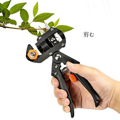 GORCHEN 接木ハサミ 植木 剪定鋏 ガーデニング 果树 枝 トウ 盆栽 移植用 3タイプの替え刃3枚付き