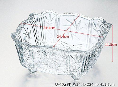 ガラス製 大鉢 矢車 脚付角大鉢
