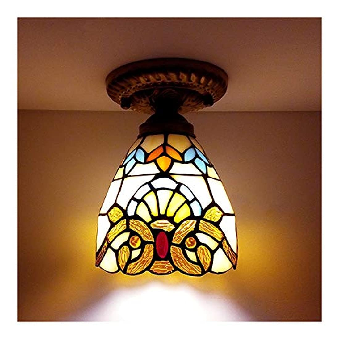 横ナンセンス指シーリングライトティファニースタイルのステンドグラスShadelampセミフラッシュマウント天井照明シーリングランプFixutre,D