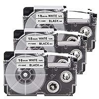カシオ ラベルテープ 18mm 3個 白地黒文字 XR-18WE ネームランド テープ 互換 casio