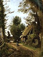 手描き-キャンバスの油絵 - Saint Quentin Des Pres Jean Baptiste Camille Corot 芸術 作品 洋画 平野 ホームデコレーション LEPS4 -サイズ04
