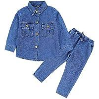 Chumhey Little Boys Denim 2Pcs Turn Down Collar Tops Elastic Waist Jeans Pants Set