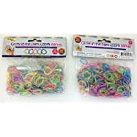 Glow Bands, Rubber Loom Rainbow Glow 1200 Pcs Rubber Bands with 48 S Clips, Latex Free Rubber Bands Refill Pack, Friendship Bracelets, Charm Bracelets Wristbands by Perfect Life Ideas [並行輸入品]