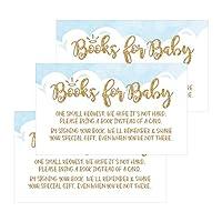 25Books For Baby要求挿入カードfor Boy Blue Heaven Sentベビーシャワー招待状またはInvites、かわいいBring a Bookの代わりのカードの主題Gender Revealパーティーストーリーゲーム、ビジネスカードサイズ