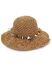 Ruiyue 夏の麦わら帽子、貝殻の花の装飾とSunhatカジュアルな麦わら日の保護ビーチ夏の女性のための女性 (色 : Brown)