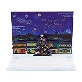 サンリオ クリスマスカード 和風 二つ折り ポップアップ 扇面にそりサンタ S7017