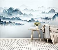 壁紙 3d 壁画 抽象的なインク風景画、リビング テレビの背景壁ベッドルーム装飾壁画 (W)200x(H)140cm