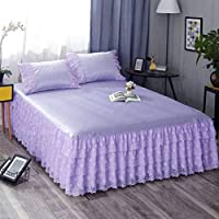 QXJR ベッドスカート,ストレッチ ベッドスカート,いベッドスカート シングル 敷き布団 ベッドカバー ベッドシーツ ラップアラウンドスタイル フリル 単色 寝具-紫色-1.8*2.0メートル