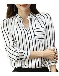 (YAMSSY) ストライプ Vネック シャツ ブラウス シフォン スキッパー 長袖 2色展開(黒、白)