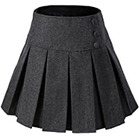 Vocni Women A-Line Wool Blend Lined Pleated Mini Skirt Side Zipper