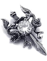 [テメゴ ジュエリー]TEMEGO Jewelry メンズキュービックジルコニアステンレススチールヴィンテージペンダントゴシックダブルドラゴンソードネックレス、ブラックシルバー[インポート]