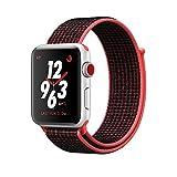 ナイキ ベルクロ iSay ウォッチスポーツループバンド、調節可能な閉鎖リストストラップ軽量通気性ナイロン交換バンド Apple Watch Series 3/2/1 、Nike+、Hermes、Edition(38MM、ブライトクリムゾン/ブラック)