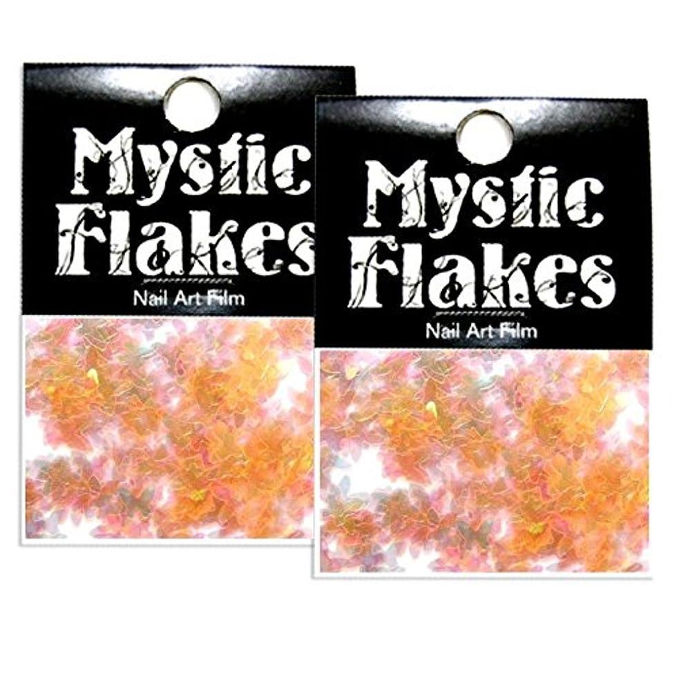 テクスチャー理論見物人ミスティックフレース ネイル用ストーン パールオレンジ バタフライ 0.5g 2個セット