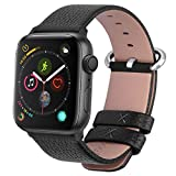 Fullmosa Compatible Apple Watch Band 42mm 44mm 40mm 38mm Calf Leather Compatible iWatch Band/Strap Compatible Apple Watch Series 5 Series 4 Series 3 Series 2 Series 1, 44mm 42mm Black