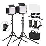 Andoer LEDビデオライト 撮影用ライト 照明ライト 40W 4260LM 二色660ビーズ 3200-5600K Uブラケット付き スタンド付き 撮影定常光ライト ビデオ録画 プロ 商業写真 結婚式写真 ライブ放送など用 (2セット)