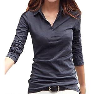 (サコイユ) sakoiyu カットソー Tシャツ レディース 襟付き トップス シャツ 長袖 ポロシャツ シンプル 大きいサイズ おおきいサイズ スポーツ おしゃれ お洒落 ゆったり オフィス ビジネス ロンティー ながそで ロングT (M, グレー)