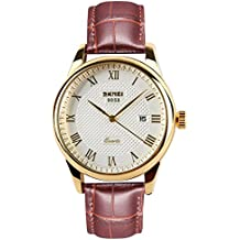 Mens Wrist Watches with Brown Geniue Leather Strap, Fashion Gold Analogue Quartz Watch with Calendar Date Window, Waterproof Classic Casual Business Large Face Gents Watch for Men