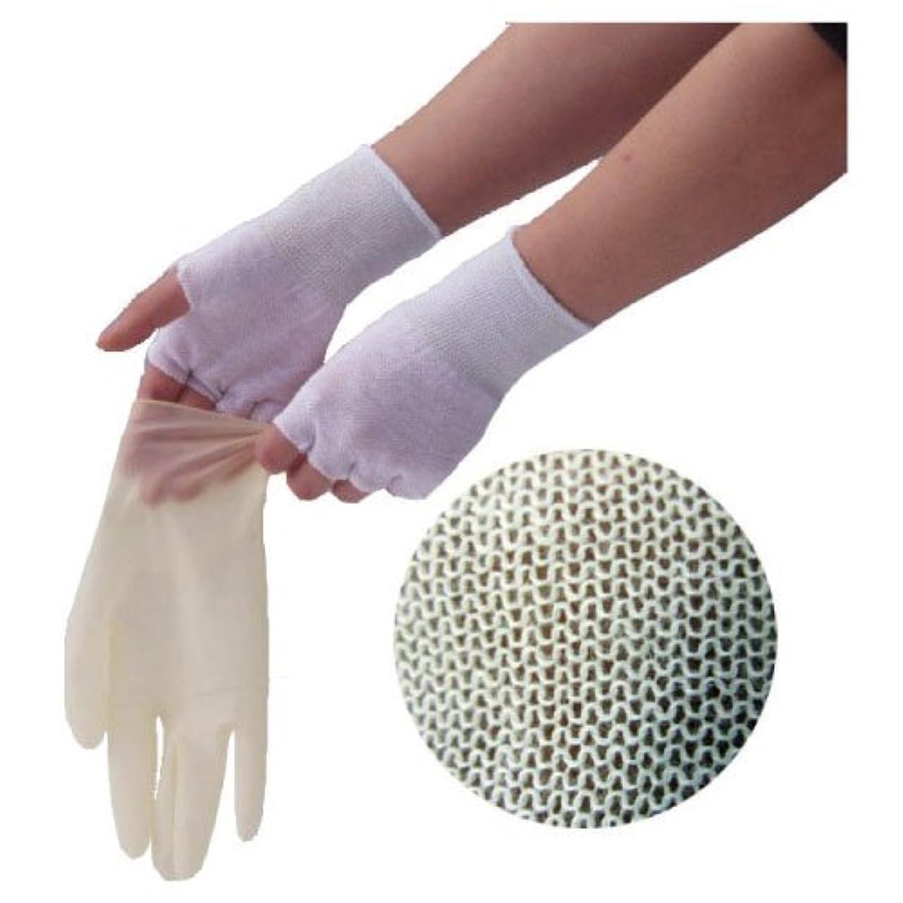 ミキサーコットン中やさしインナー手袋(指なし) GI02 フリー 材質:ナイロン