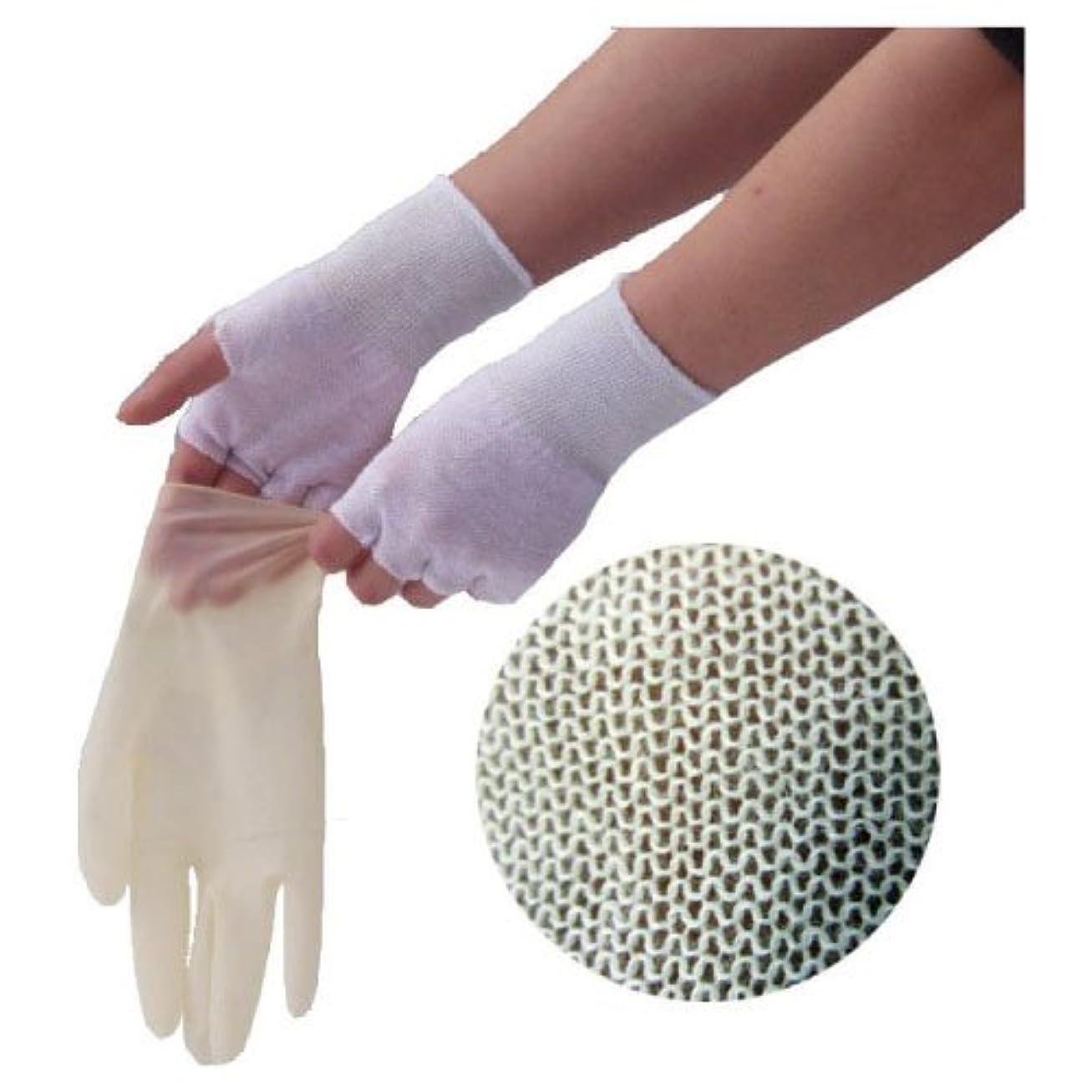 黒アラブ酔ったやさしインナー手袋(指なし) GI02 フリー 材質:ナイロン