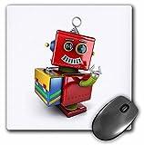 3drose LLC 8x 8x 0.25インチマウスパッド、かわいいヴィンテージトイロボットwithスマートPhone ( MP _ 165724_ 1)