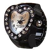 クロックス ガールズ (シャイニング ガールズ)shining girls レディース子供用指輪時計 キッズリングウォッチ 可愛いハート指輪  (ブラック)
