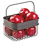 mDesign Small Metal Kitchen Pantry Food Storage Organizer Basket Bin with Handle - Farmhouse Grid Design for Cabinets, Cupboards, Shelves - Holds Fruit, Spices, Condiments, Napkins - Bronze
