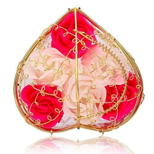 (ノタラス)Notalas <10 * 10 * 6cm >金メッキ鉄バスケット 6本 石鹸のローズ 花 母の日・結婚祝い ・記念日・ホワイトデー 贈り物 Flower Soap (赤)